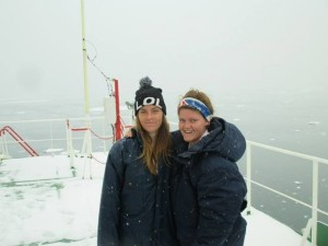 Lauren and Hannah after rescue on the Canadian ice breaker.