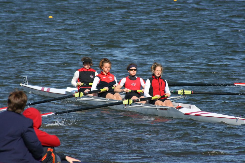 Lauren and Olivia competing in the same boat together at University